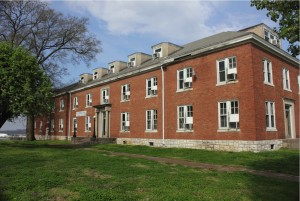 View of the brick facade of Griggs Hall
