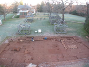 Image of an archaeological dig with Montpelier in the background.