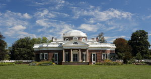 The facade of Monticello on a sunny day